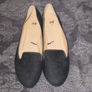 H&M black faux suede loafer smoking flats 7/7.5